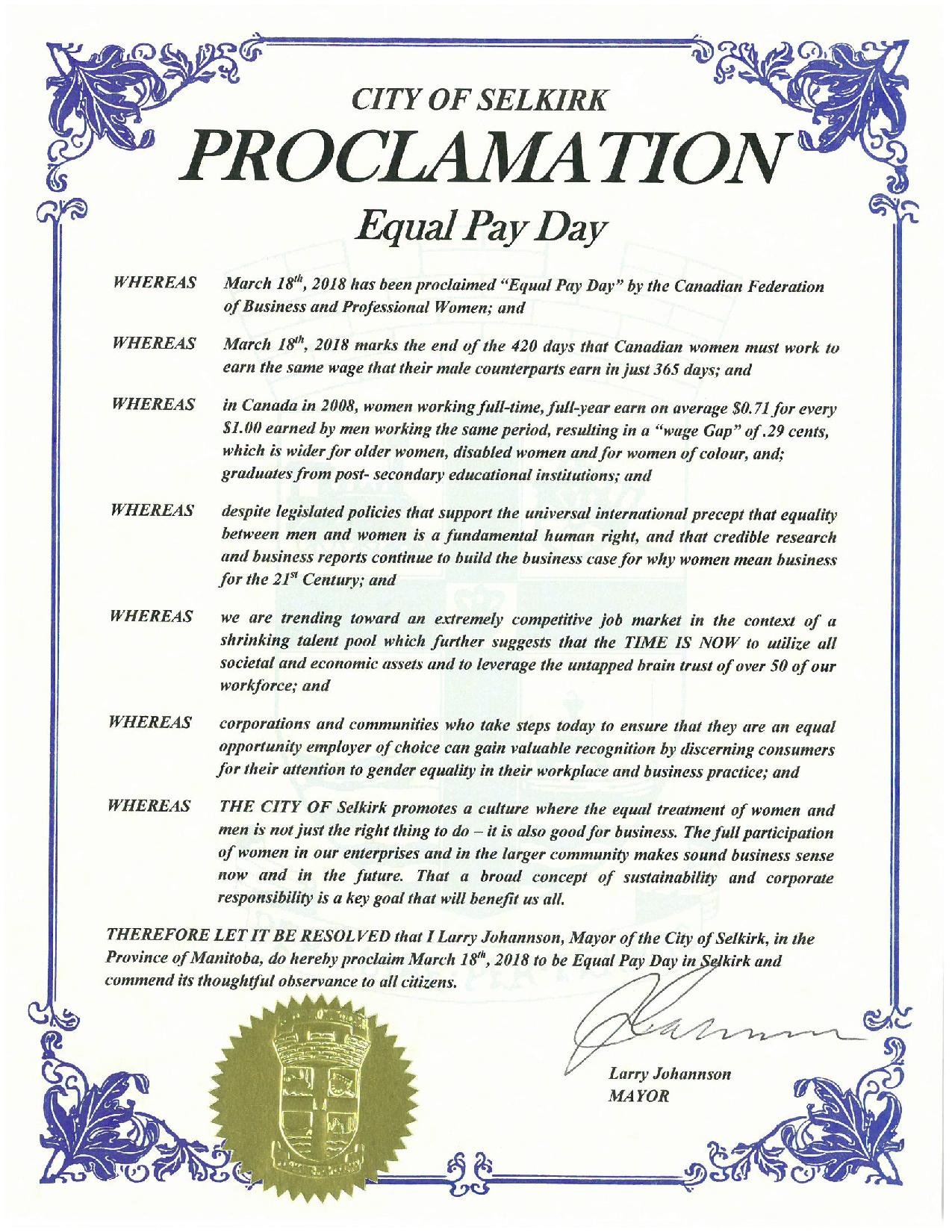 Proclamation Equal Pay Day 2018 City of Selkirk finalized page 001